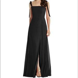 Dessy Style 3042   Tie Strap Chiffon Gown w/ Slit